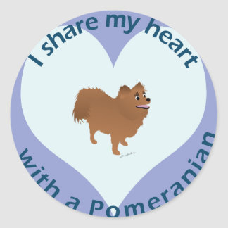 Share Your Heart - Pomeranian Round Stickers