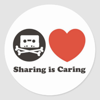 Sharing is Caring Classic Round Sticker