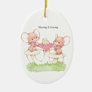 Sharing Is Caring Spring Summer Mice Ceramic Oval Decoration