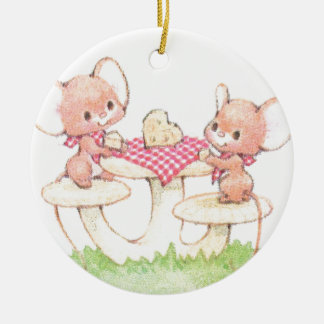 Sharing Is Caring Spring Summer Mice Round Ceramic Decoration