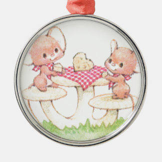 Sharing Is Caring Spring Summer Mice Silver-Colored Round Decoration