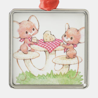 Sharing Is Caring Spring Summer Mice Silver-Colored Square Decoration