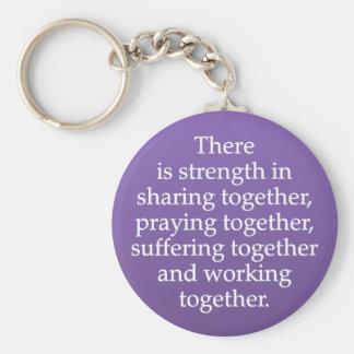 Sharing, Praying, and Working Together Basic Round Button Key Ring