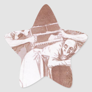 Sharing the Old Woman by Francisco Goya Star Sticker