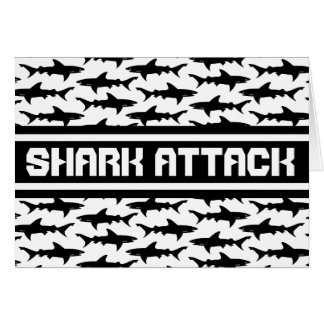 Shark Attack Black and White Sharks Pattern Card