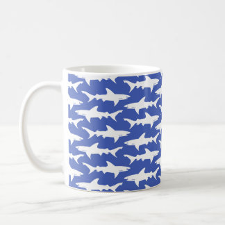 Shark Attack - Blue and White Coffee Mug