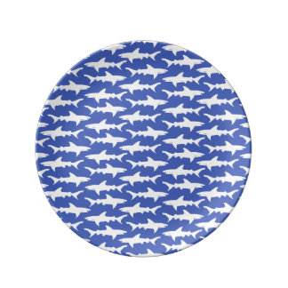 Shark Attack - Blue and White Porcelain Plate