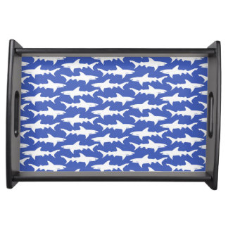 Shark Attack - Blue and White Serving Trays