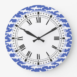 Shark Attack - Blue and White Wall Clock