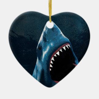 Shark attack ceramic ornament