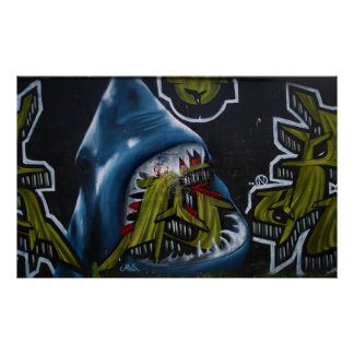 Shark attack graffiti poster