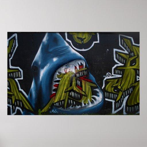 Shark attack graffiti poster