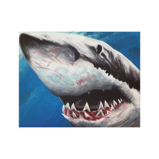 Shark Attack Great White Painting  Canvas Print