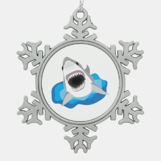 Shark Attack - Great White Shark Leaps from Waves Snowflake Pewter Christmas Ornament