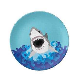Shark Attack - Great White Shark Porcelain Plate