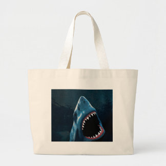 Shark attack large tote bag
