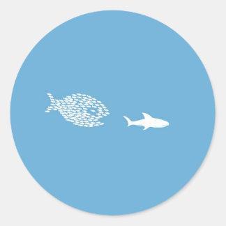 Shark attack round sticker