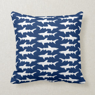 Shark Attack School of Sharks in Blue Ocean Cushion