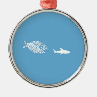 Shark attack Silver-Colored round decoration
