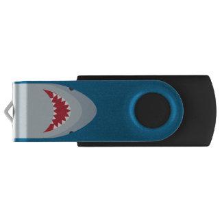 Shark Attack Silver USB Drive Swivel USB 2.0 Flash Drive