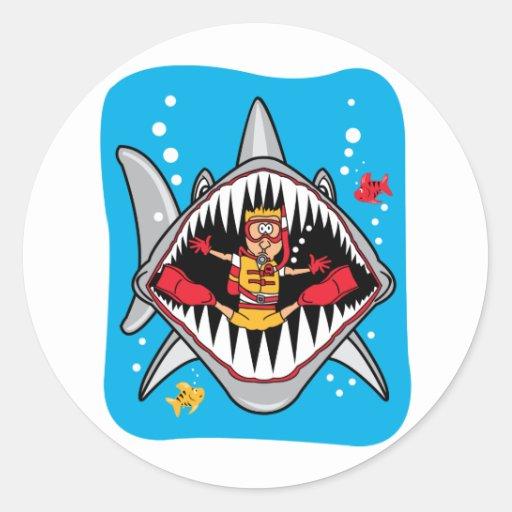 Shark Attack! Round Sticker