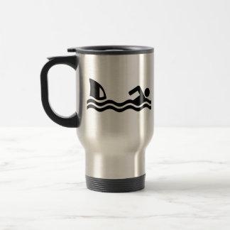 Shark attack swimmer coffee mug