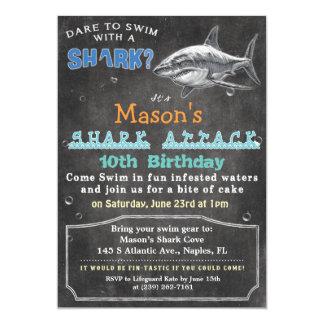Shark Birthday Chalkboard Invitation