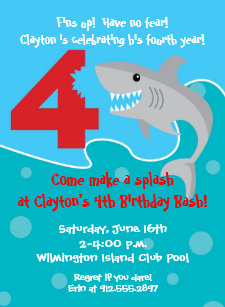 Shark birthday invitations zazzle shark bite invite 4th birthday party invitation filmwisefo