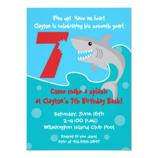 Shark Bite Invite- 7th Birthday Party 14 Cm X 19 Cm Invitation Card