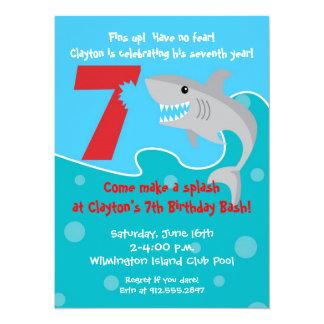 Shark Bite Invite- 7th Birthday Party 14 Cm X 19 Cm Invitation Card