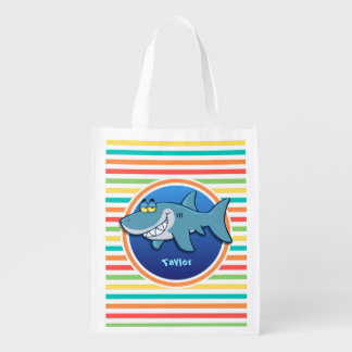 Shark; Bright Rainbow Stripes Reusable Grocery Bag