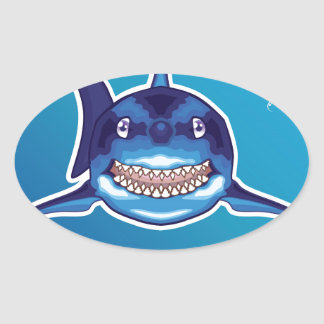Shark Cartoon Oval Sticker