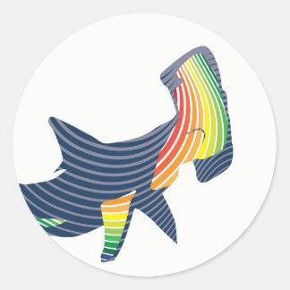 Shark Color Swirl Classic Round Sticker