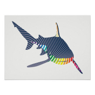 Shark Color Swoosh Poster
