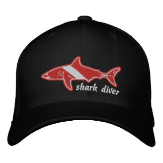 Shark Diver Dive Flag Cap Baseball Cap