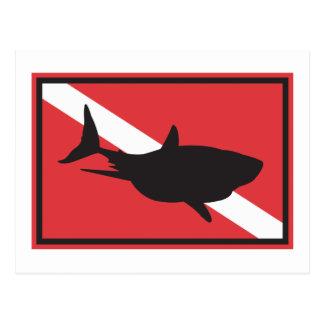 Shark Diving Flag Post Cards
