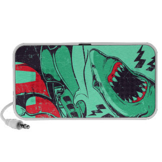Shark doodle laptop speakers