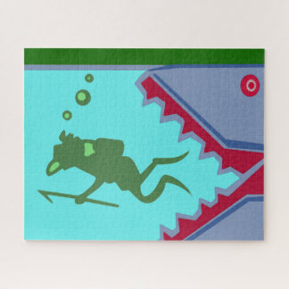 Shark fish diver sea danger swim swimmer danger jigsaw puzzle