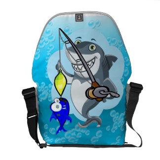 Shark fishing a fish cartoon commuter bag
