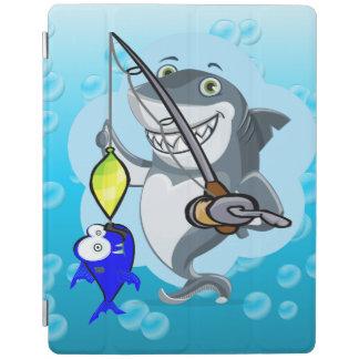 Shark fishing a fish cartoon iPad cover