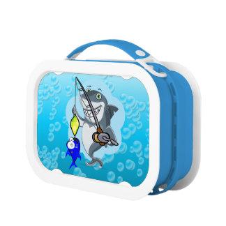 Shark fishing a fish cartoon lunch box