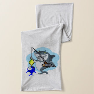 Shark fishing a fish cartoon scarf