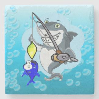 Shark fishing a fish cartoon stone coaster