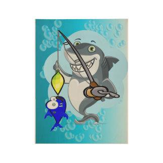 Shark fishing a fish cartoon wood poster