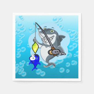 Shark fishing a fish paper napkin