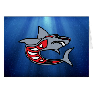 Shark ~ Gray & Red ~ Caricature Greeting Card