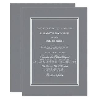 Shark Grey with White Wedding Detail 14 Cm X 19 Cm Invitation Card