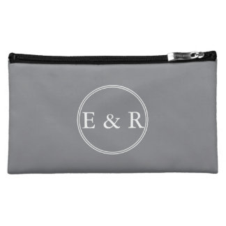 Shark Grey with White Wedding Detail Cosmetics Bags