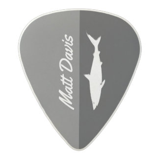 shark guitarist, custom name, black/white acetal guitar pick