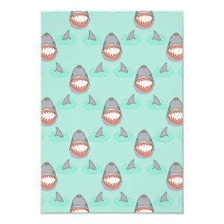 Shark Heads & Fins in Grey on Aqua w/ Ripples 9 Cm X 13 Cm Invitation Card